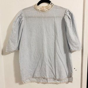 ZARA Basic Cutesy Lace Detailed Baby Blue Top